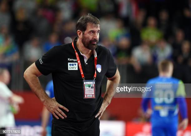 Slovenia's head coach Veselin Vujovic looks on during the group II match of the Men's 2018 EHF European Handball Championship between Slovenia and...