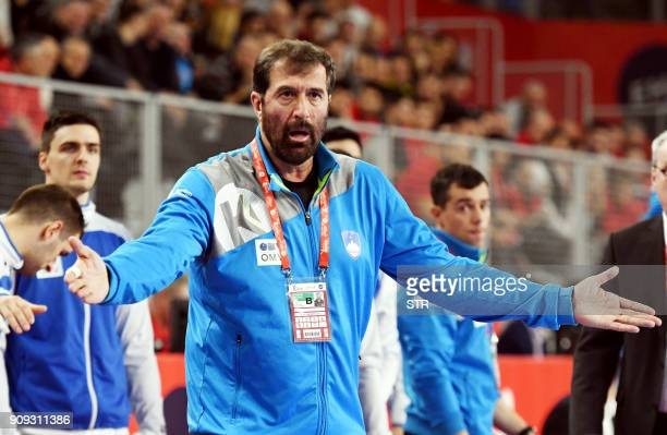 Slovenia's head coach Veselin Vujovic reacts during the group II match of the Men's 2018 EHF European Handball Championship between Slovenia and...