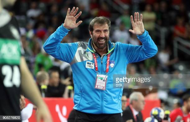 Slovenia's headcoach Veselin Vujovic gestures during the group C handball match of the Men's 2018 EHF European Handball Championship between Slovenia...