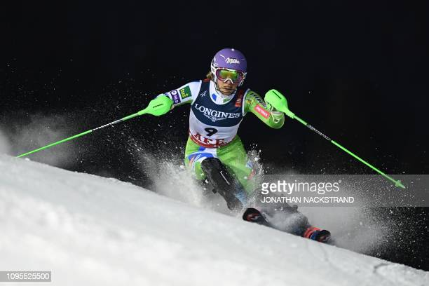 Slovenia's Ilka Stuhec competes during the Women's Combined Slalom event of the 2019 FIS Alpine Ski World Championships at the National Arena in Are...