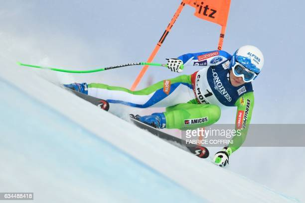 TOPSHOT Slovenia's Ilka Stuhec competes in the downhill race of the women's Alpine Combined event at the 2017 FIS Alpine World Ski Championships in...