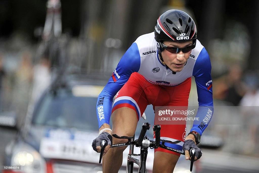 Slovenia's Janez Brajkovic (Radioshack) competes during the 6,8 km individual time-trial and first stage of the 62th edition of the Criterium of Dauphine Libere cycling race run in Evian, eastern France, on June 6, 2010. Spanish team leader Alberto Contador (Astana) won the first stage ahead of American Tejay Van Garderen (HTC-Columbia ) and Slovenian Janez Brajkovic (Radioshack).