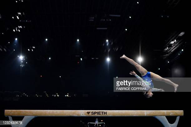 Slovenia's Lucija Hribar competes in the Women's beam qualifications during European Artistic Gymnastics Championships at the St Jakobshalle, in...