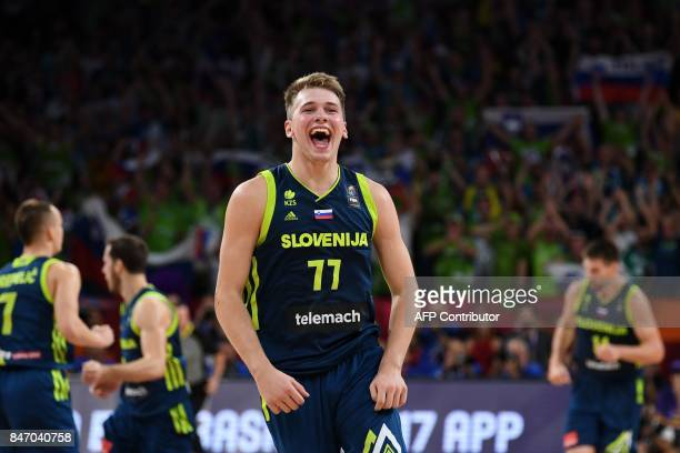 Slovenia's Luka Doncic celebrates the team's win after the FIBA Eurobasket 2017 men's semi-final basketball match between Spain and Slovenia at the...