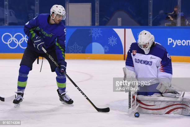 Slovenia's Luka Gracnar stops a shot beside Slovenia's Miha Verlic in the men's preliminary round ice hockey match between Slovakia and Slovenia...