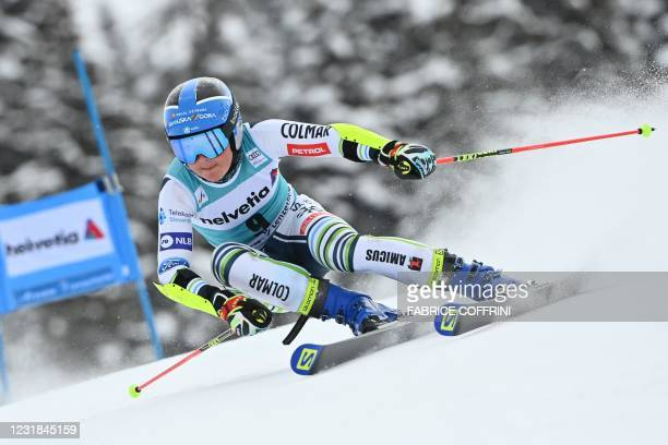 Slovenia's Meta Hrovat competes in the first run of the Women's Giant Slalom event during the FIS Alpine ski World Cup in Lenzerheide, on March 21,...