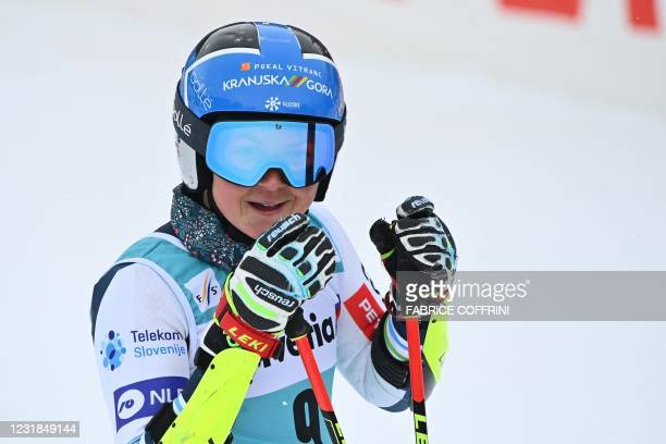Slovenia's Meta Hrovat reacts in the finishing area after competing in the second run of the Women's Giant Slalom event during the FIS Alpine ski...