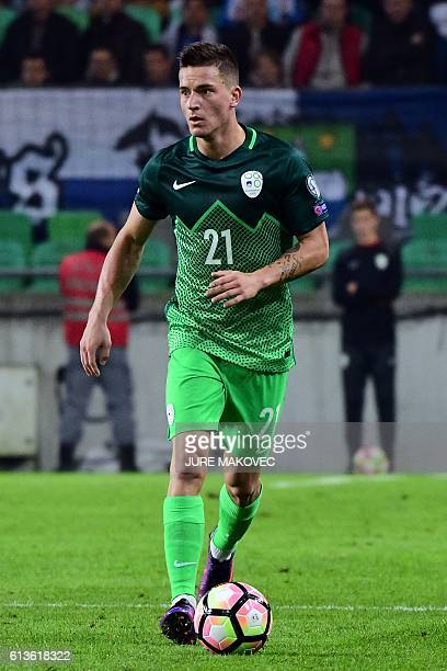 Slovenia's midfielder Benjamin Verbic controls the ball during FIFA World Cup 2018 qualifying football match between Slovenia and Slovakia at Stozice...