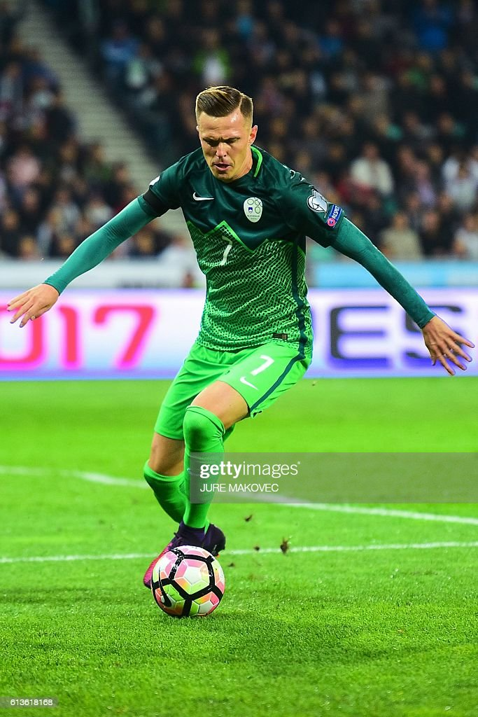 Slovenia's midfielder Josip Ilicic controls the ball during FIFA World Cup 2018 qualifying football match between Slovenia and Slovakia at Stozice Stadium in Ljubljana, Slovenia on October 8, 2016. / AFP / Jure MAKOVEC