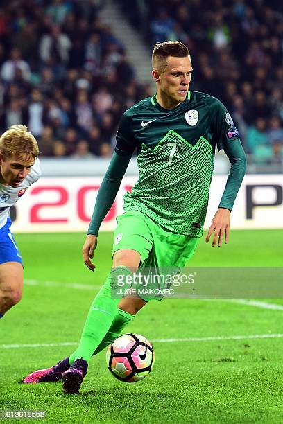 Slovenia's midfielder Josip Ilicic controls the ball during FIFA World Cup 2018 qualifying football match between Slovenia and Slovakia at Stozice...