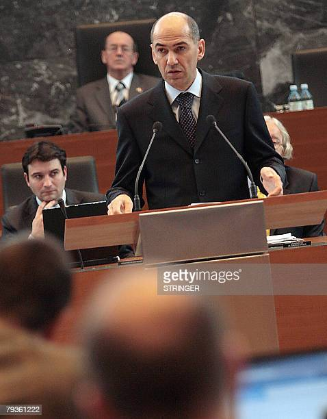 Slovenias Prime Minister Janez Jansa addresses the parliament members during the Parliament session in Ljubljana 29 January 2008 The Parliament of...