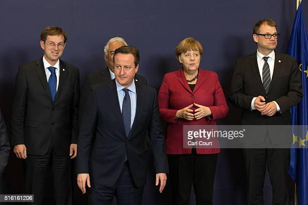 Slovenia's Prime Minister Miro Cerar Portugal's Prime Minister Antonio Costa Britain's Prime Minister David Cameron Germany's Chancellor Angela...