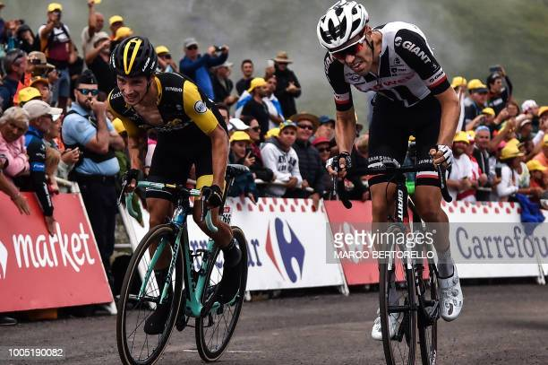 Slovenia's Primoz Roglic and Netherlands' Tom Dumoulin ride in the last kilometers of the 17th stage of the 105th edition of the Tour de France...
