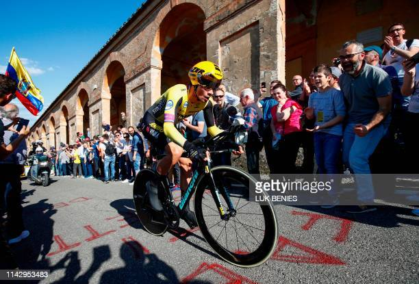 Slovenia's Primoz Roglic rides in the ascent of San Luca during the first stage of the 2019 Giro d'Italia the cycling Tour of Italy an 8kilometer...