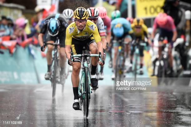 Slovenia's Primoz Roglic rides to win the 4th stage6 km from Lucens to Torgon during the Tour de Romandie UCI World Tour 2019 cycling race on May 4...