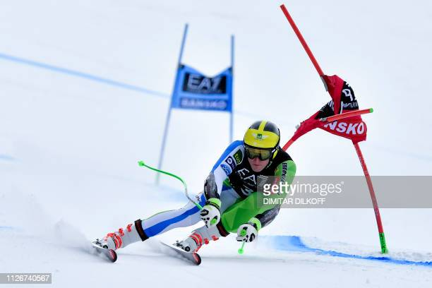 Slovenia's Stefan Hadalin competes during the men's SuperG combined event of the FIS Alpine Ski World Cup in Bansko on February 22 2019