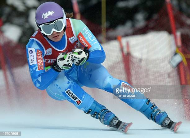 Slovenia's Tina Maze skis during the women's downhill practice of the Alpine Skiing World Cup in Lake Louise on November 27 2012 Lindsey Vonn of the...
