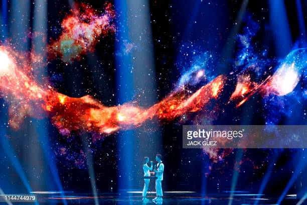 Slovenia's Zala Kralj and Gasper Santl perform the song Sebi during the Grand Final of the 64th edition of the Eurovision Song Contest 2019 at Expo...