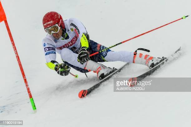 Slovenia's Zan Kranjec competes in the Men's Giant Slalom of the FIS Alpine World Cup on December 22, 2019 in Alta Badia, Dolomites.