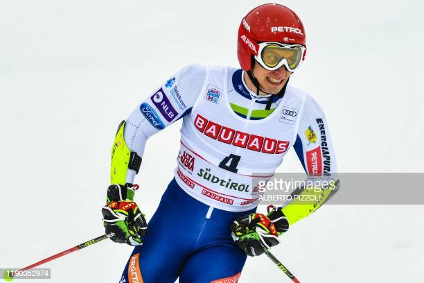 Slovenia's Zan Kranjec reacts after crossing the finich line of the second run of the Men's Giant Slalom of the FIS Alpine World Cup on December 22,...