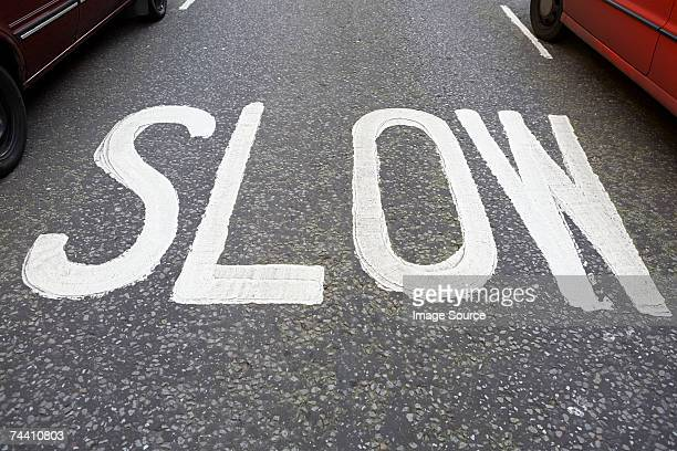 Slow road marking