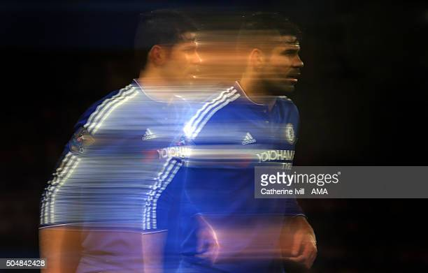 A slow shutter image of Diego Costa of Chelsea during the Barclays Premier League match between Chelsea and West Bromwich Albion at Stamford Bridge...