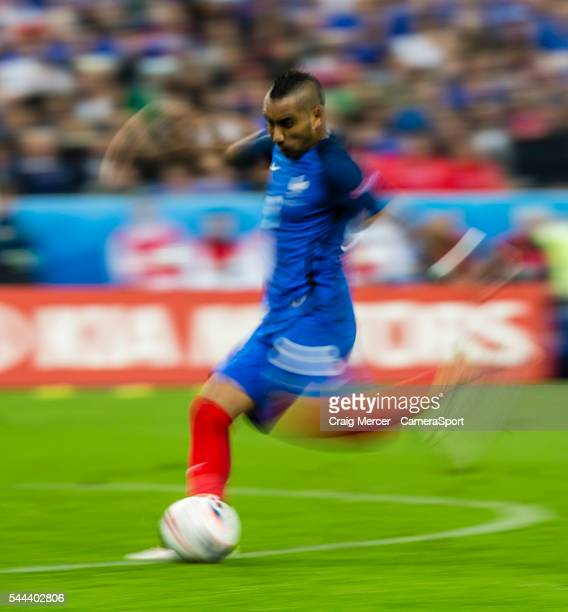 A slow shutter speed shot of France's Dimitri Payet scoring his sides third goal during the UEFA Euro 2016 Quarterfinal match between France and...