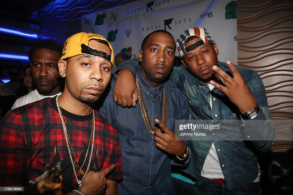 Slowbucks founders Rodney 'Bucks' Charlemagne and Windsor 'Slow' Lubin, and recording artist Vado attend NY Knicks player JR Smith, Slow Of Slowbucks & Big Ben's Birthday Celebration at Stage 48 on August 28, 2013 in New York City.