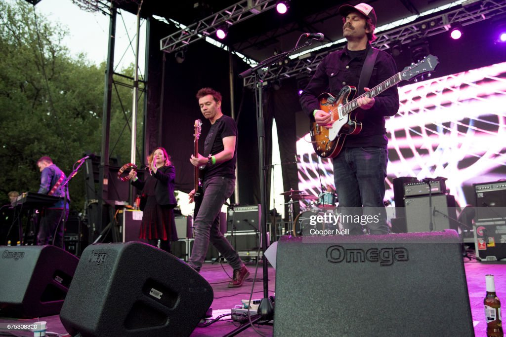Slowdive performs during Fortress Festival on April 30, 2017 in Fort Worth, Texas.