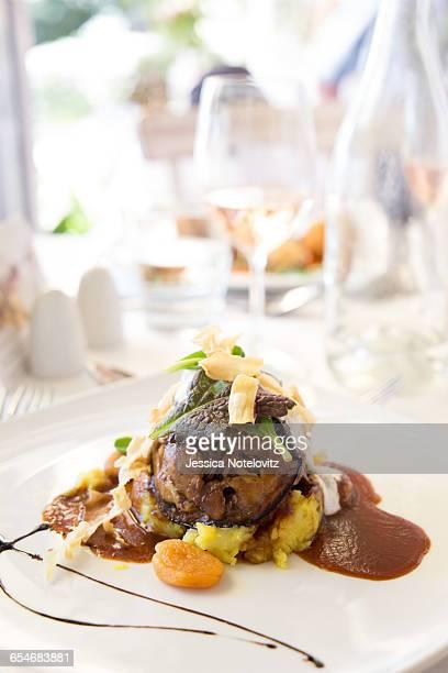 Slow-roasted lamb cutlet dish, at La Petite Ferme, Franschhoek