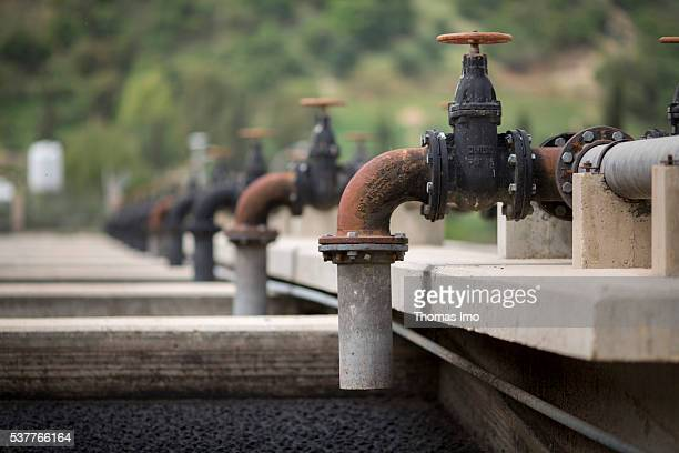 Sludge drying beds in a sewage treatment plant on April 06 2016 in Fuheis Jordan