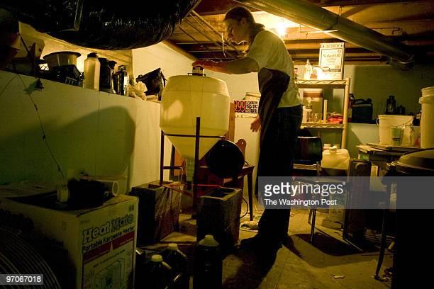 ME/Brewers Date Kevin Clark/TWP Neg # 201617 Garrett Park MD Gabe Schwartzman senior at Walter Johnson High makes biodiesel in the basement of his...