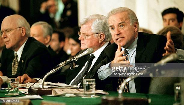 na/ashcroft date 1/16/01 photo by Ray Lustig/TWP location Washington DC caption Sen Joe Biden right questions John Ashcroft during his confirmation...