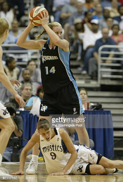 SP/Mystics Kevin Clark/The Washington Post Date 6062003 Neg # 143091 MCI Center WashingtonDC Penny Taylor of the Rockers stands over fallen Coco...