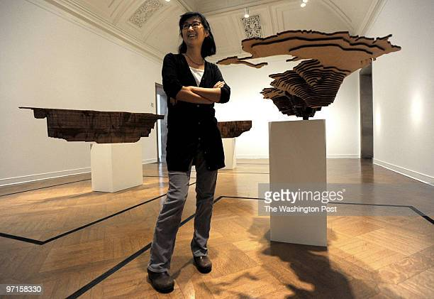 st/lin ref raimondo206708 date 03/10/09 washington dc photographer lois raimondo Maya Lin with her Bodies of Water series part of her Systematic...