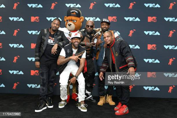 Slugga DJ Kay Gee Treach and Vin Rock of Naughty By Nature pose in the Press Room during the 2019 MTV Video Music Awards at Prudential Center on...