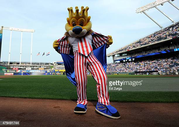 Sluggerrr the Kansas City Royals' mascot shows his holiday spirt as he shows off his Fourth of July costume prior to a game between the Minnesota...