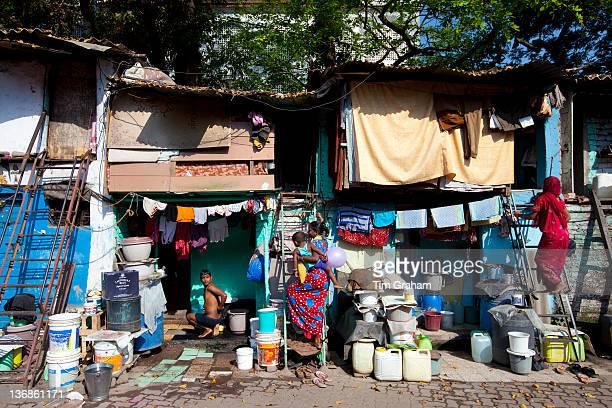 Slum housing and slum dwellers in Mahalaxmi area of Mumbai India
