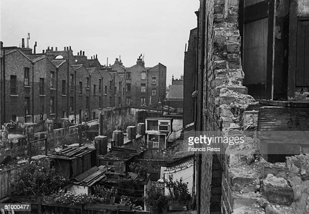 Slum housing in Shaftesbury Street Hoxton in the East End of London 5th October 1946 Original publication Picture Post 4224 All In A Hoxton Garden...