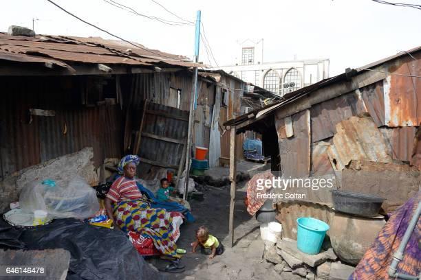 Slum in area Sura in Lagos Island on March 10, 2016 in Lagos, Nigeria - West Africa.