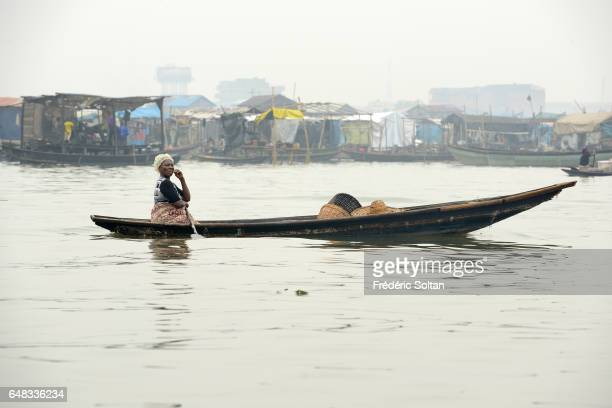 Slum neighborhood Makoko on March 17, 2016 in Lagos, Nigeria. At present its population is considered to be around 200,000. It was established in the...