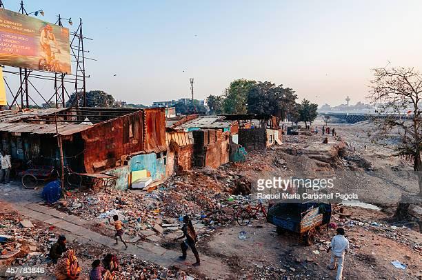 Slum or shanty town at dusk