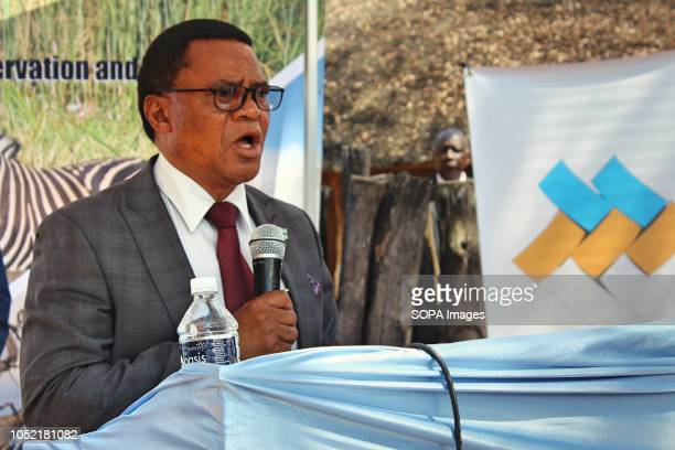 Slumber Tsongwane Vice President of the Republic of Botswana delivering a speech the 50th Anniversary of the existence of National Museum and...