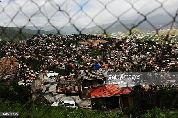 Slums are viewed in the capital city of Tegucigalpa on July 19, 2012 in Tegucigalpa, Honduras. Honduras now has the highest per capita murder rate in...