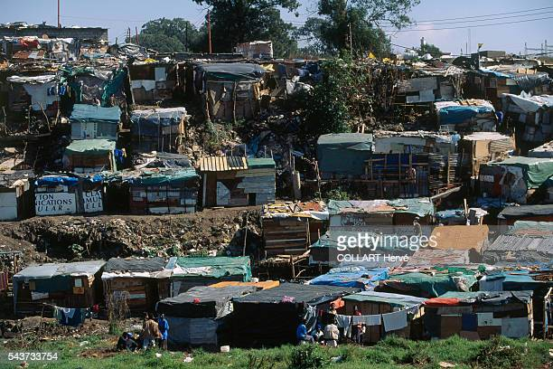 Slums in the Johannesburg township of Alexandra Situated paradoxically close to the wealthy suburb of Sandton Alexandra is one of the poorest urban...