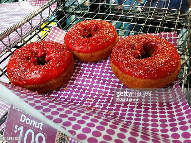 Slurpee doughnuts in a 7Eleven convenience store in New York on Wednesday March 23 2016 A novelty doughnut from the chain it is a cake doughnut...