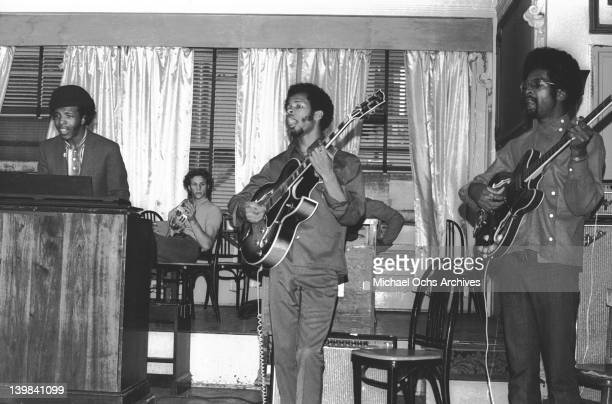 Sly Stone Gregg Errico Freddie Stone and Larry Graham of the psychedelic soul group 'Sly And The Family Stone' rehearsing for a performance on the TV...