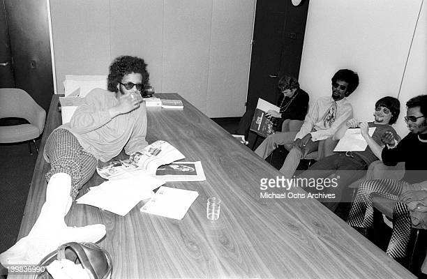 Sly Stone Gregg Errico Larry Graham Jerry Martini and Freddie Stone of the psychedelic soul group 'Sly And The Family Stone' relax during a portrait...