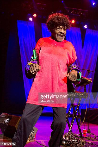 Sly Stone makes a rare appearance performing his song 'if you want me to stay' with The Family Stone during Hippiefest 2015 at Count Basie Theater on...