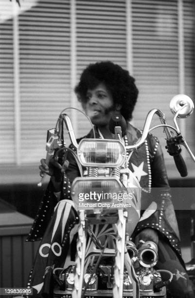 Sly Stone of the psychedelic soul group 'Sly and the Family Stone' rides a chopper on April 3 1973 in San Francisco California